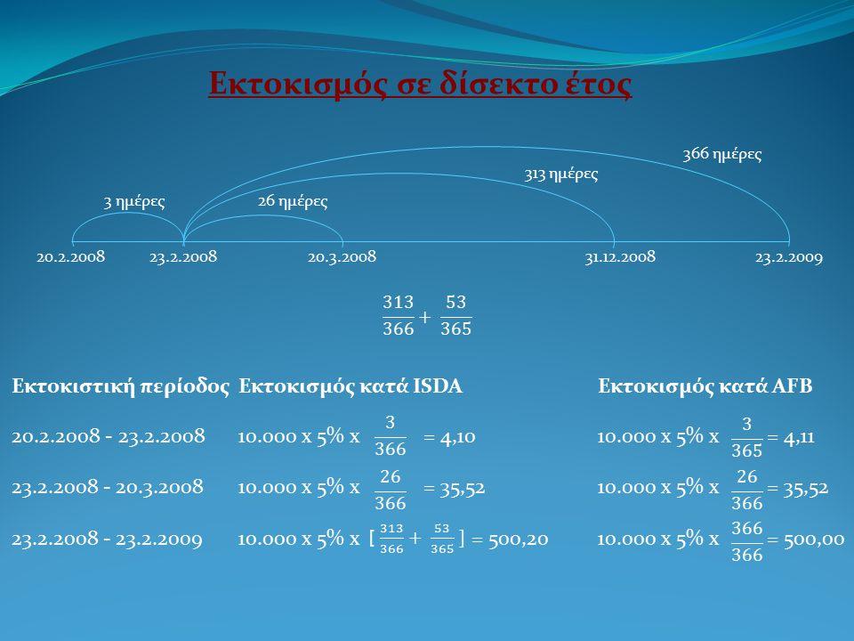 20.2.200823.2.200820.3.200831.12.200823.2.2009 3 ημέρες26 ημέρες 313 ημέρες 366 ημέρες Εκτοκιστική περίοδοςΕκτοκισμός κατά ISDA Εκτοκισμός κατά AFB 20.2.2008 - 23.2.200810.000 x 5% x = 4,1010.000 x 5% x = 4,11 23.2.2008 - 20.3.200810.000 x 5% x = 35,5210.000 x 5% x = 35,52 23.2.2008 - 23.2.200910.000 x 5% x = 500,2010.000 x 5% x = 500,00 Εκτοκισμός σε δίσεκτο έτος