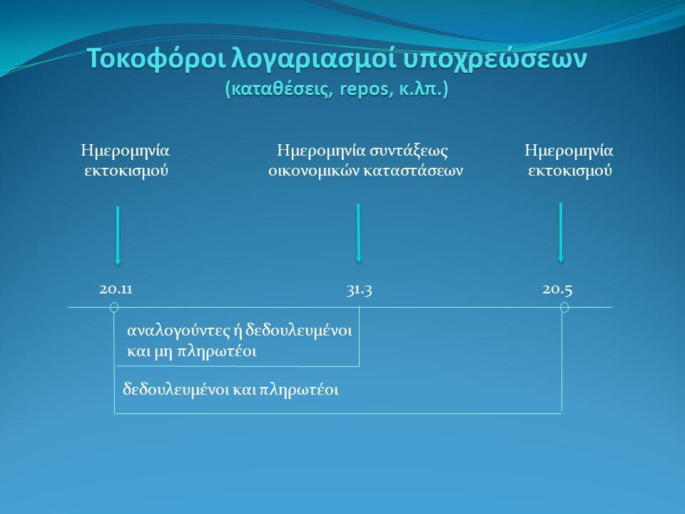 20.1131.320.5 Τοκοφόροι λογαριασμοί υποχρεώσεων (καταθέσεις, repos, κ.λπ.) Ημερομηνία Ημερομηνία συντάξεωςΗμερομηνία εκτοκισμούοικονομικών καταστάσεων εκτοκισμού αναλογούντες ή δεδουλευμένοι και μη πληρωτέοι δεδουλευμένοι και πληρωτέοι