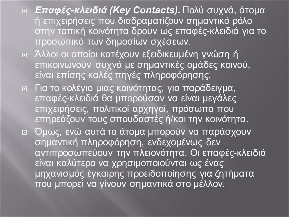  Επαφές-κλειδιά (Key Contacts). Πολύ συχνά, άτομα ή επιχειρήσεις που διαδραματίζουν σημαντικό ρόλο στην τοπική κοινότητα δρουν ως επαφές-κλειδιά για