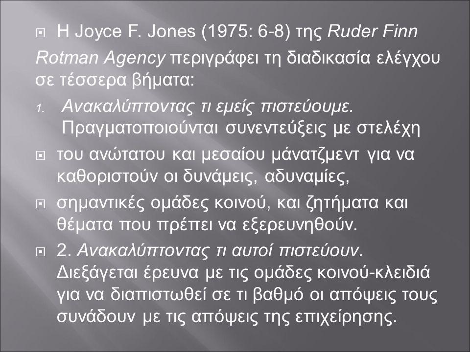  H Joyce F. Jones (1975: 6-8) της Ruder Finn Rotman Agency περιγράφει τη διαδικασία ελέγχου σε τέσσερα βήματα:  Ανακαλύπτοντας τι εμείς πιστεύουμε.