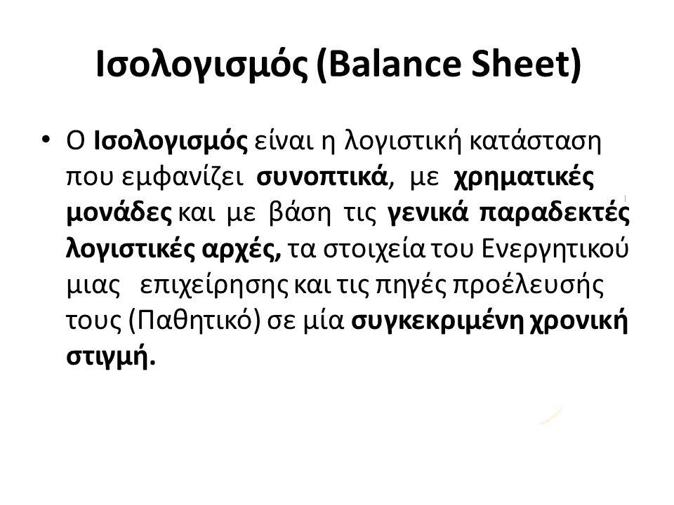 Ισολογισμός (Balance Sheet) Ο Ισολογισμός είναι η λογιστική κατάσταση που εμφανίζει συνοπτικά, με χρηματικές μονάδες και με βάση τις γενικά παραδεκτές λογιστικές αρχές, τα στοιχεία του Ενεργητικού μιας επιχείρησης και τις πηγές προέλευσής τους (Παθητικό) σε μία συγκεκριμένη χρονική στιγμή.