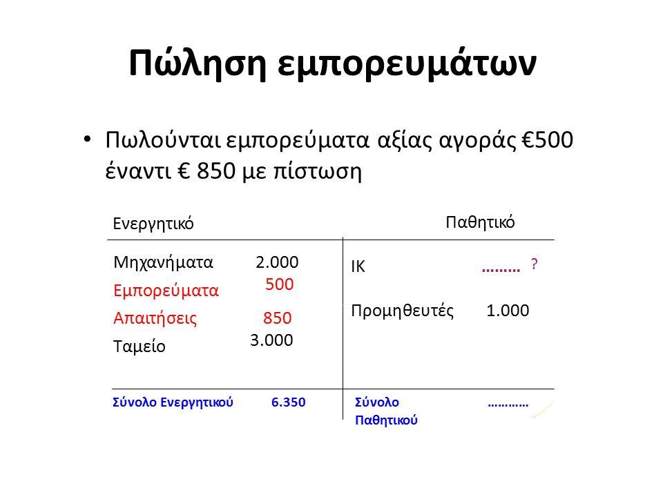 Πώληση εμπορευμάτων Πωλούνται εμπορεύματα αξίας αγοράς €500 έναντι € 850 με πίστωση Ενεργητικό Μηχανήματα Εμπορεύματα 2.000 500 .