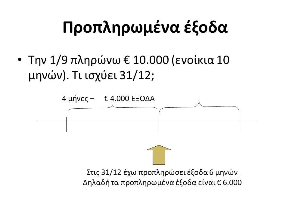 Προπληρωμένα έξοδα Την 1/9 πληρώνω € 10.000 (ενοίκια 10 μηνών).