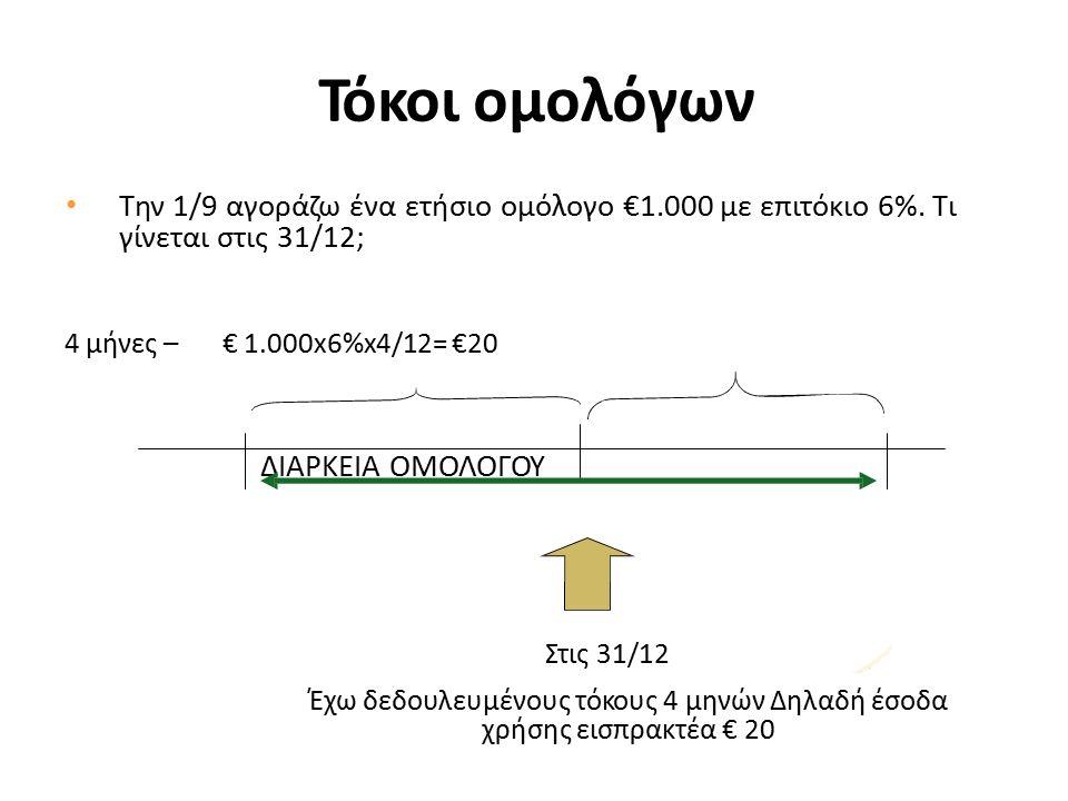 Τόκοι ομολόγων Την 1/9 αγοράζω ένα ετήσιο ομόλογο €1.000 με επιτόκιο 6%.