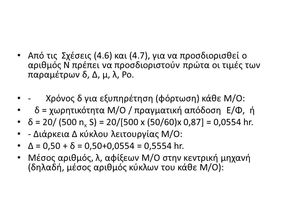 Από τις Σχέσεις (4.6) και (4.7), για να προσδιορισθεί ο αριθμός Ν πρέπει να προσδιοριστούν πρώτα οι τιμές των παραμέτρων δ, Δ, μ, λ, Ρο.