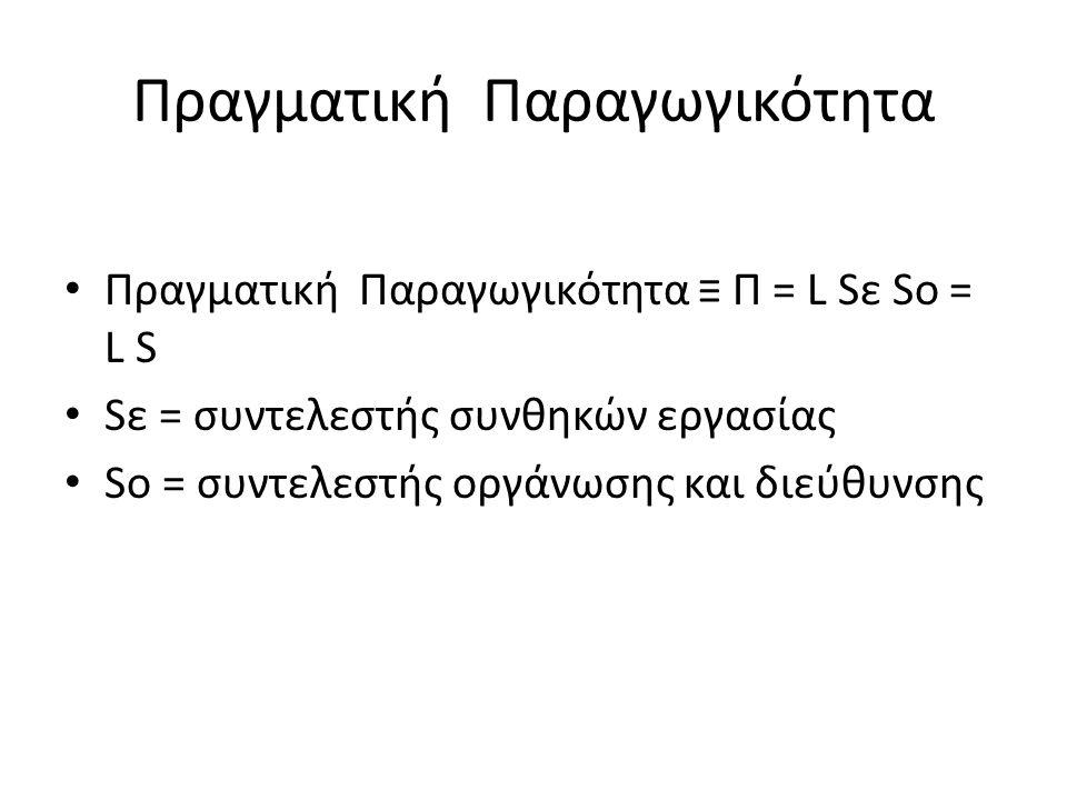 Πραγματική Παραγωγικότητα Πραγματική Παραγωγικότητα ≡ Π = L Sε So = L S Sε = συντελεστής συνθηκών εργασίας Sο = συντελεστής οργάνωσης και διεύθυνσης
