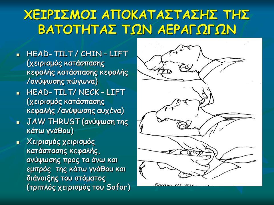 ΧΕΙΡΙΣΜΟΙ ΑΠΟΚΑΤΑΣΤΑΣΗΣ ΤΗΣ ΒΑΤΟΤΗΤΑΣ ΤΩΝ ΑΕΡΑΓΩΓΩΝ HEAD- TILT / CHIN – LIFT (χειρισμός κατάσπασης κεφαλής κατάσπασης κεφαλής /ανύψωσης πώγωνα) HEAD- TILT / CHIN – LIFT (χειρισμός κατάσπασης κεφαλής κατάσπασης κεφαλής /ανύψωσης πώγωνα) HEAD- TILT/ NECK – LIFT (χειρισμός κατάσπασης κεφαλής /ανύψωσης αυχένα) HEAD- TILT/ NECK – LIFT (χειρισμός κατάσπασης κεφαλής /ανύψωσης αυχένα) JAW THRUST (ανύψωση της κάτω γνάθου) JAW THRUST (ανύψωση της κάτω γνάθου) Χειρισμός χειρισμός κατάσπασης κεφαλής, ανύψωσης προς τα άνω και εμπρός της κάτω γνάθου και διάνοιξης του στόματος (τριπλός χειρισμός του Safar) Χειρισμός χειρισμός κατάσπασης κεφαλής, ανύψωσης προς τα άνω και εμπρός της κάτω γνάθου και διάνοιξης του στόματος (τριπλός χειρισμός του Safar)
