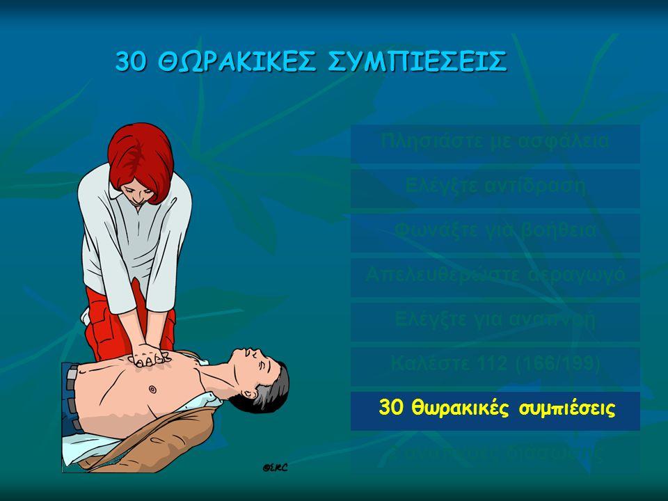30 ΘΩΡΑΚΙΚΕΣ ΣΥΜΠΙΕΣΕΙΣ Πλησιάστε με ασφάλεια Ελέγξτε αντίδραση Φωνάξτε για βοήθεια Απελευθερώστε αεραγωγό Ελέγξτε για αναπνοή Καλέστε 112 (166/199) 30 θωρακικές συμπιέσεις 2 αναπνοές διάσωσης
