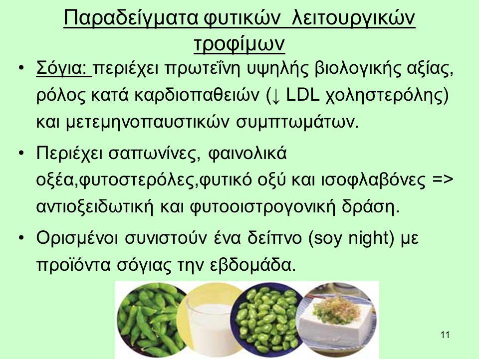 11 Παραδείγματα φυτικών λειτουργικών τροφίμων Σόγια: περιέχει πρωτεΐνη υψηλής βιολογικής αξίας, ρόλος κατά καρδιοπαθειών (↓ LDL χοληστερόλης) και μετεμηνοπαυστικών συμπτωμάτων.