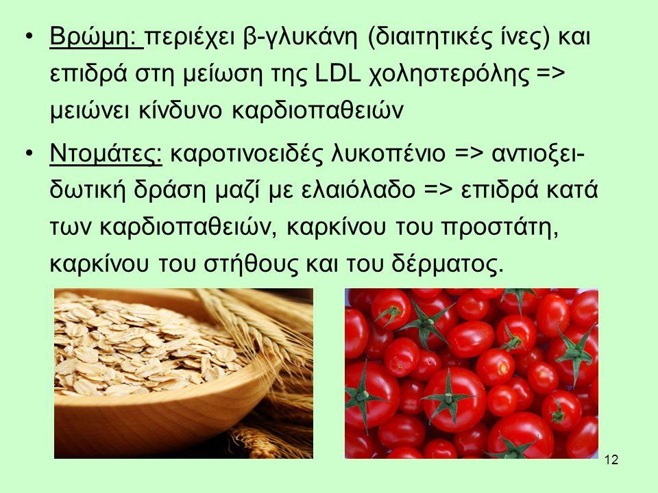 12 Βρώμη: περιέχει β-γλυκάνη (διαιτητικές ίνες) και επιδρά στη μείωση της LDL χοληστερόλης => μειώνει κίνδυνο καρδιοπαθειών Ντομάτες: καροτινοειδές λυκοπένιο => αντιοξει- δωτική δράση μαζί με ελαιόλαδο => επιδρά κατά των καρδιοπαθειών, καρκίνου του προστάτη, καρκίνου του στήθους και του δέρματος.