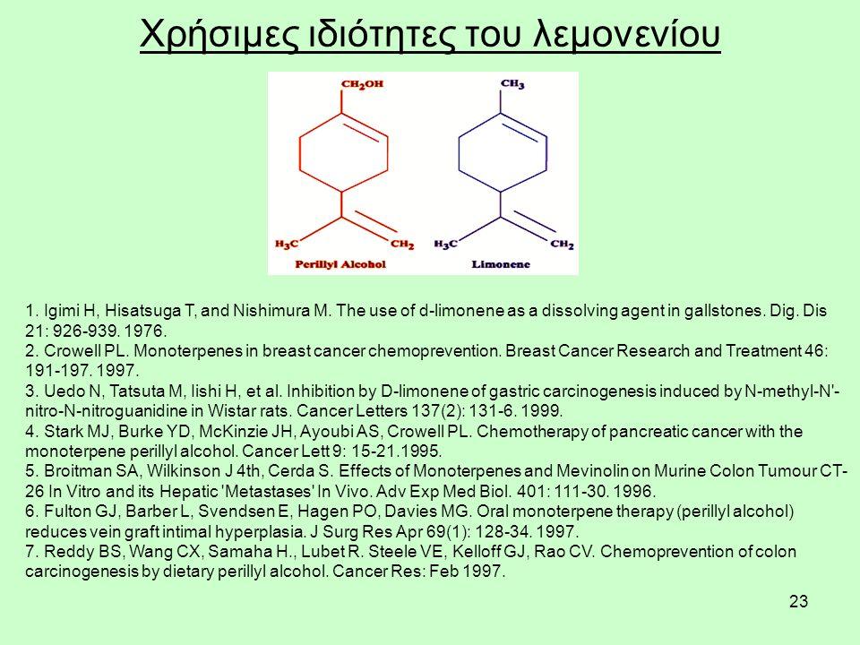 23 Χρήσιμες ιδιότητες του λεμονενίου 1. Igimi H, Hisatsuga T, and Nishimura M.