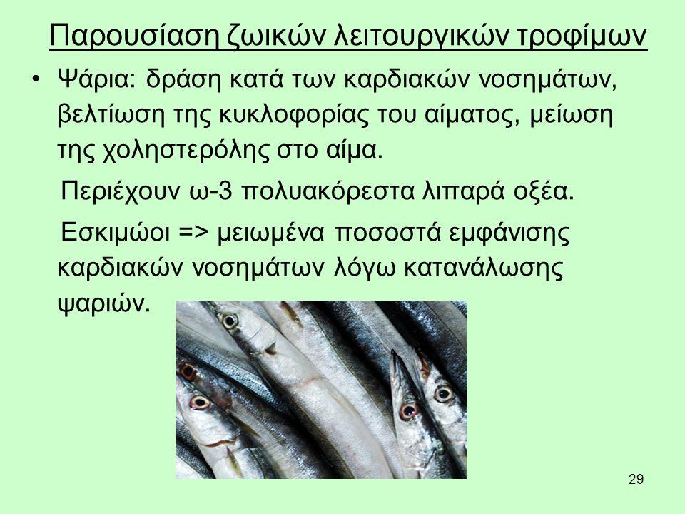 29 Παρουσίαση ζωικών λειτουργικών τροφίμων Ψάρια: δράση κατά των καρδιακών νοσημάτων, βελτίωση της κυκλοφορίας του αίματος, μείωση της χοληστερόλης στο αίμα.