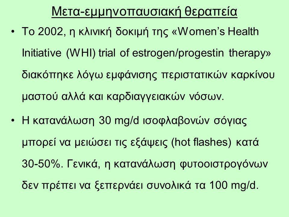 58 Το 2002, η κλινική δοκιμή της «Women's Health Initiative (WHI) trial of estrogen/progestin therapy» διακόπηκε λόγω εμφάνισης περιστατικών καρκίνου μαστού αλλά και καρδιαγγειακών νόσων.