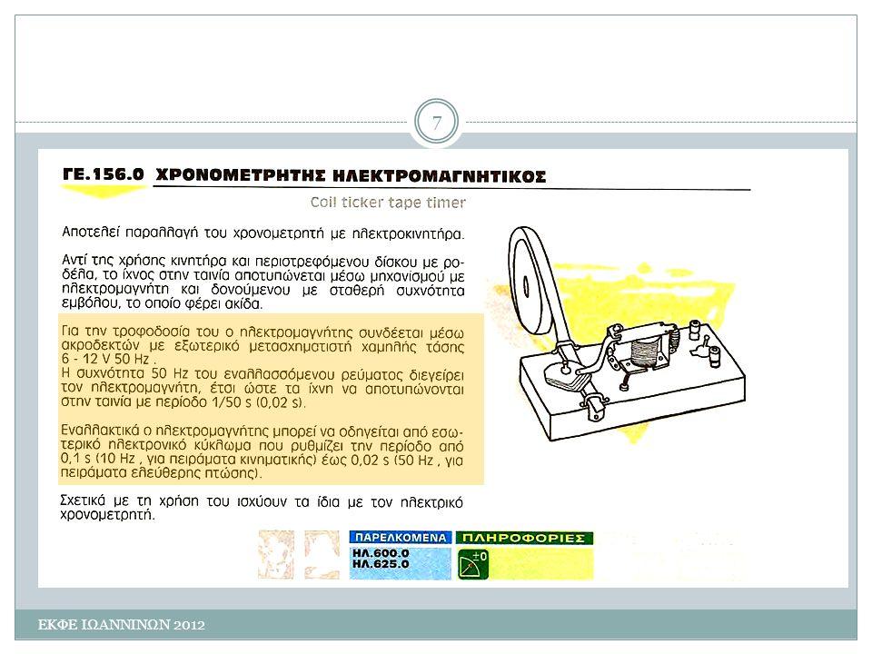 Πειραματική διαδικασία ΕΚΦΕ ΙΩΑΝΝΙΝΩΝ 2012 8 Στερεώνουμε το χρονομετρητή στην άκρη του πάγκου, με το σφικτήρα (αν έχουμε).