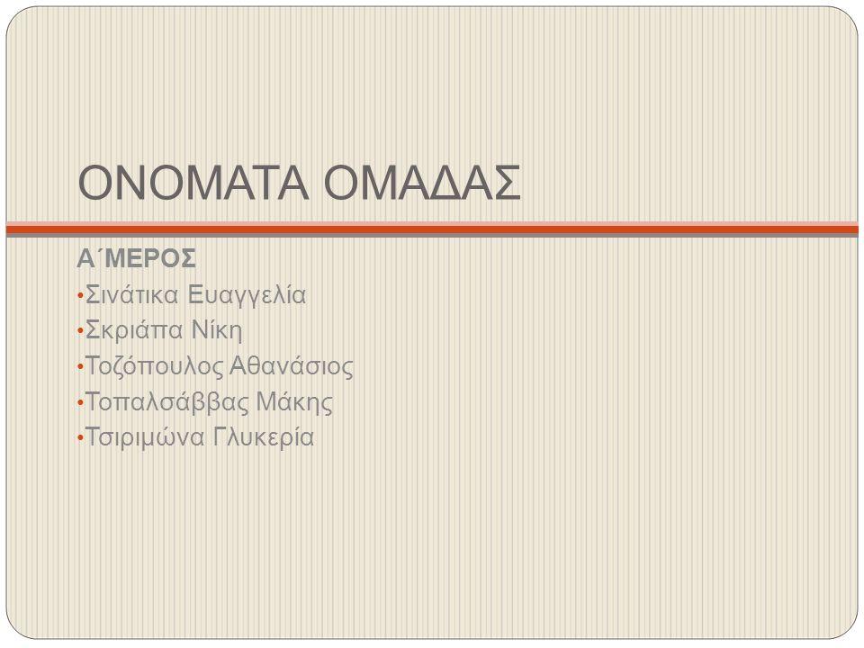 ΟΝΟΜΑΤΑ ΟΜΑΔΑΣ Α΄ΜΕΡΟΣ Σινάτικα Ευαγγελία Σκριάπα Νίκη Τοζόπουλος Αθανάσιος Τοπαλσάββας Μάκης Τσιριμώνα Γλυκερία