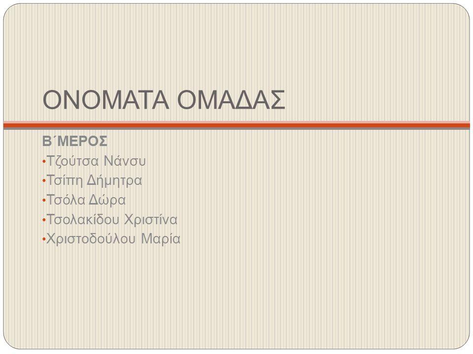 ΟΝΟΜΑΤΑ ΟΜΑΔΑΣ Β΄ΜΕΡΟΣ Τζούτσα Νάνσυ Τσίπη Δήμητρα Τσόλα Δώρα Τσολακίδου Χριστίνα Χριστοδούλου Μαρία