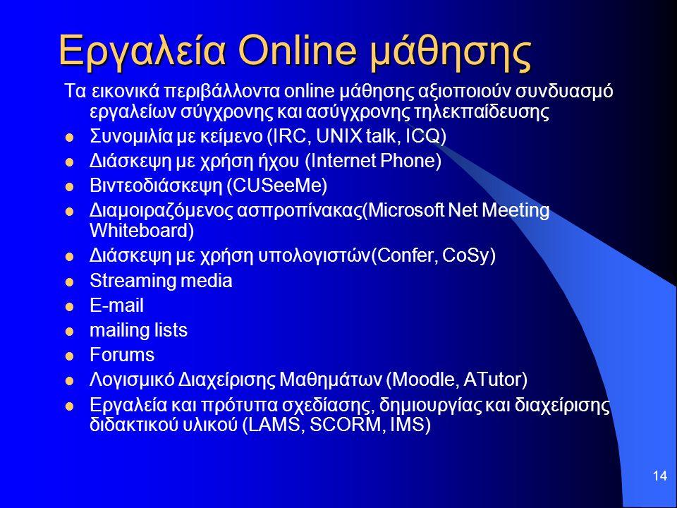 14 Εργαλεία Online μάθησης Τα εικονικά περιβάλλοντα online μάθησης αξιοποιούν συνδυασμό εργαλείων σύγχρονης και ασύγχρονης τηλεκπαίδευσης Συνομιλία με κείμενο (IRC, UNIX talk, ICQ) Διάσκεψη με χρήση ήχου (Internet Phone) Βιντεοδιάσκεψη (CUSeeMe) Διαμοιραζόμενος ασπροπίνακας(Microsoft Net Meeting Whiteboard) Διάσκεψη με χρήση υπολογιστών(Confer, CoSy) Streaming media E-mail mailing lists Forums Λογισμικό Διαχείρισης Μαθημάτων (Moodle, ATutor) Εργαλεία και πρότυπα σχεδίασης, δημιουργίας και διαχείρισης διδακτικού υλικού (LAMS, SCORM, IMS)