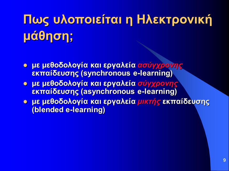 9 Πως υλοποιείται η Ηλεκτρονική μάθηση; με μεθοδολογία και εργαλεία ασύγχρονης εκπαίδευσης (synchronous e-learning) με μεθοδολογία και εργαλεία ασύγχρονης εκπαίδευσης (synchronous e-learning) με μεθοδολογία και εργαλεία σύγχρονης εκπαίδευσης (asynchronous e-learning) με μεθοδολογία και εργαλεία σύγχρονης εκπαίδευσης (asynchronous e-learning) με μεθοδολογία και εργαλεία μικτής εκπαίδευσης (blended e-learning) με μεθοδολογία και εργαλεία μικτής εκπαίδευσης (blended e-learning)