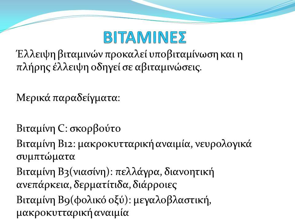 Έλλειψη βιταμινών προκαλεί υποβιταμίνωση και η πλήρης έλλειψη οδηγεί σε αβιταμινώσεις.
