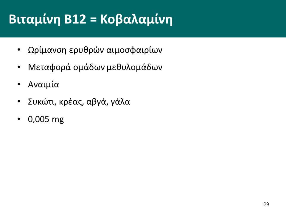 29 Βιταμίνη Β12 = Κοβαλαμίνη Ωρίμανση ερυθρών αιμοσφαιρίων Μεταφορά ομάδων μεθυλομάδων Αναιμία Συκώτι, κρέας, αβγά, γάλα 0,005 mg