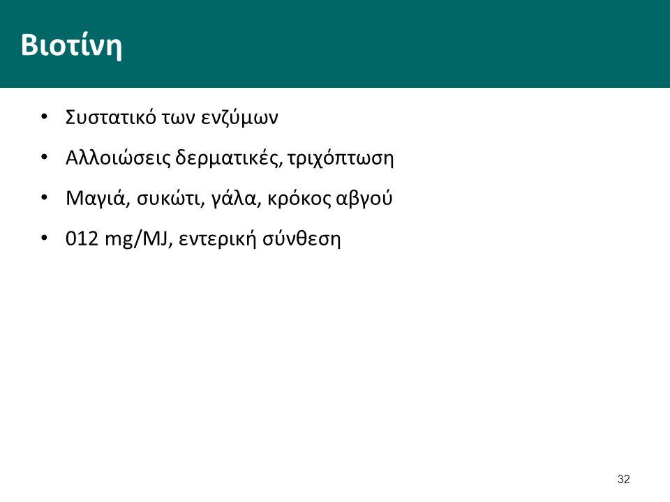 32 Βιοτίνη Συστατικό των ενζύμων Αλλοιώσεις δερματικές, τριχόπτωση Μαγιά, συκώτι, γάλα, κρόκος αβγού 012 mg/MJ, εντερική σύνθεση