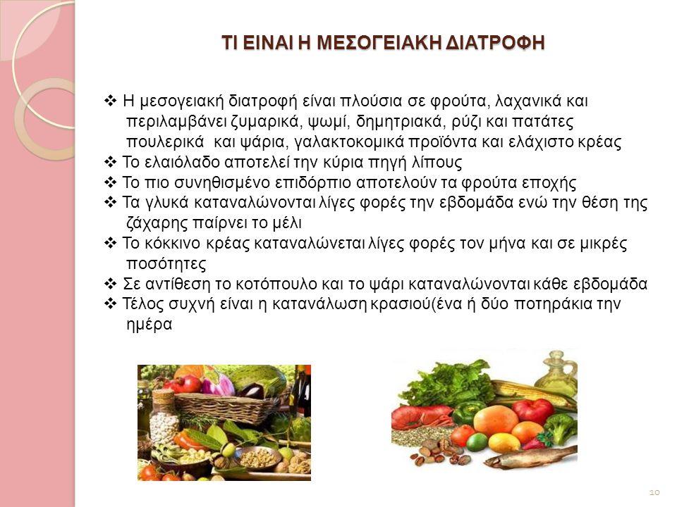 ΤΙ ΕΙΝΑΙ Η ΜΕΣΟΓΕΙΑΚΗ ΔΙΑΤΡΟΦΗ 10  Η μεσογειακή διατροφή είναι πλούσια σε φρούτα, λαχανικά και περιλαμβάνει ζυμαρικά, ψωμί, δημητριακά, ρύζι και πατά