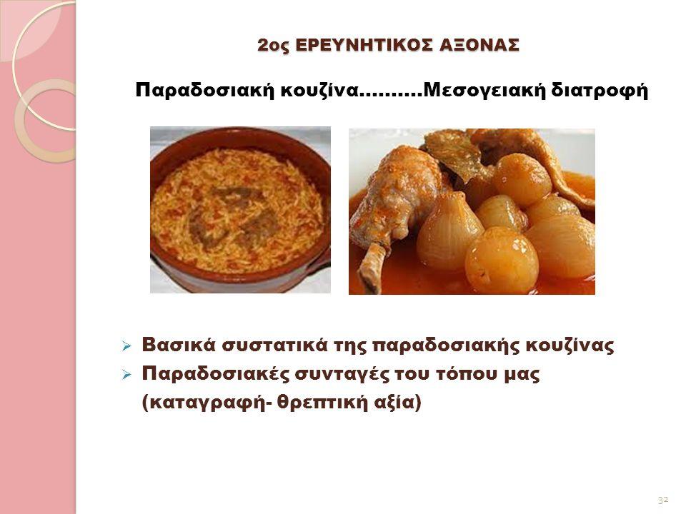 2ος ΕΡΕΥΝΗΤΙΚΟΣ ΑΞΟΝΑΣ Παραδοσιακή κουζίνα……….Μεσογειακή διατροφή  Βασικά συστατικά της παραδοσιακής κουζίνας  Παραδοσιακές συνταγές του τόπου μας (