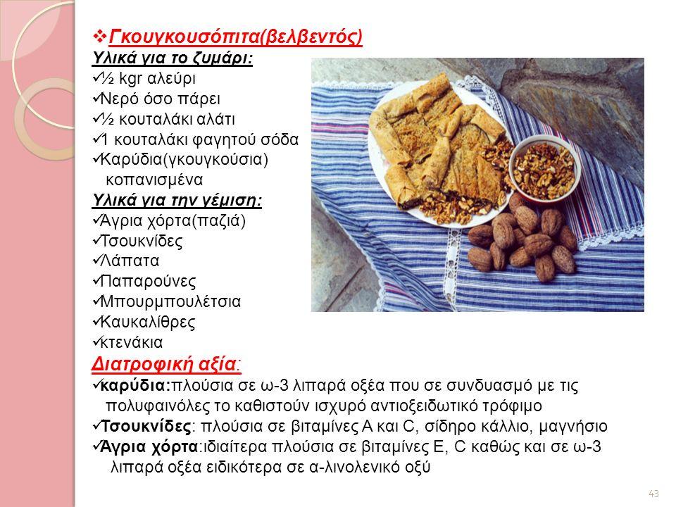 43  Γκουγκουσόπιτα(βελβεντός) Υλικά για το ζυμάρι: ½ kgr αλεύρι Νερό όσο πάρει ½ κουταλάκι αλάτι 1 κουταλάκι φαγητού σόδα Καρύδια(γκουγκούσια) κοπανι