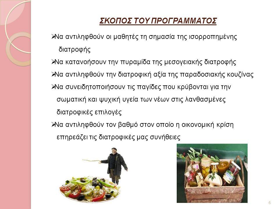 ΣΚΟΠΟΣ ΤΟΥ ΠΡΟΓΡΑΜΜΑΤΟΣ 6  Να αντιληφθούν οι μαθητές τη σημασία της ισορροπημένης διατροφής  Να κατανοήσουν την πυραμίδα της μεσογειακής διατροφής 