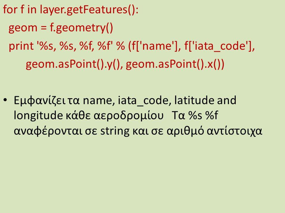 for f in layer.getFeatures(): geom = f.geometry() print %s, %s, %f, %f % (f[ name ], f[ iata_code ], geom.asPoint().y(), geom.asPoint().x()) Εμφανίζει τα name, iata_code, latitude and longitude κάθε αεροδρομίου Τα %s %f αναφέρονται σε string και σε αριθμό αντίστοιχα