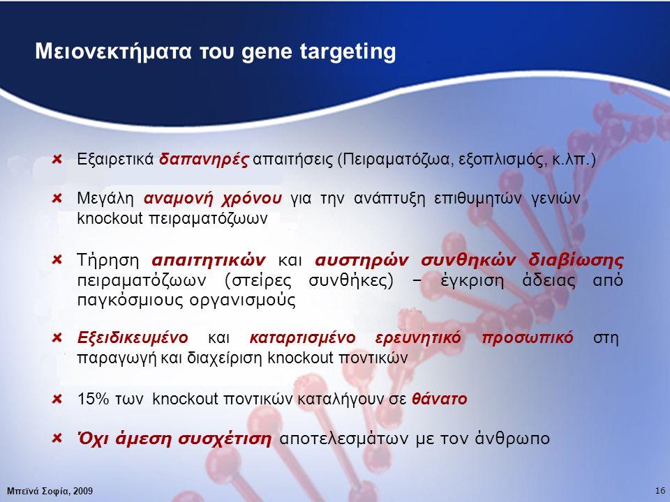 17 Μειονεκτήματα του gene targeting Εξαιρετικά δαπανηρές απαιτήσεις (Πειραματόζωα, εξοπλισμός, κ.λπ.) Μεγάλη αναμονή χρόνου για την ανάπτυξη επιθυμητών γενιών knockout πειραματόζωων Τήρηση απαιτητικών και αυστηρών συνθηκών διαβίωσης πειραματόζωων (στείρες συνθήκες) – έγκριση άδειας από παγκόσμιους οργανισμούς Εξειδικευμένο και καταρτισμένο ερευνητικό προσωπικό στη παραγωγή και διαχείριση knockout ποντικών 15% των knockout ποντικών καταλήγουν σε θάνατο Όχι άμεση συσχέτιση αποτελεσμάτων με τον άνθρωπο Μπεϊνά Σοφία, 2009 16
