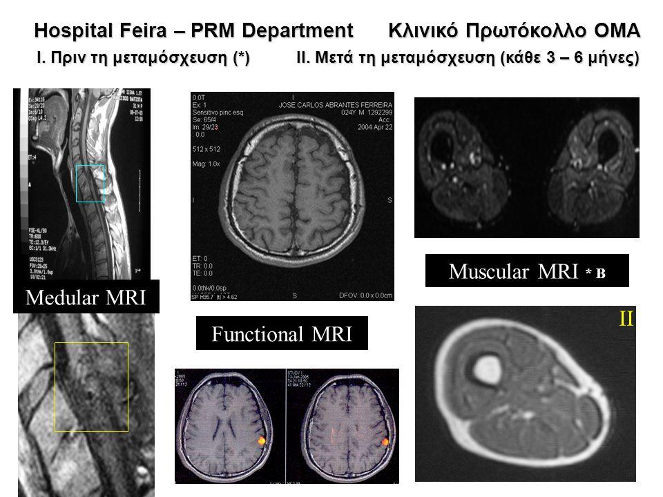 I II Medular MRI Functional MRI Muscular MRI * B Hospital Feira – PRM Department Κλινικό Πρωτόκολλο OMA Hospital Feira – PRM Department Κλινικό Πρωτόκ