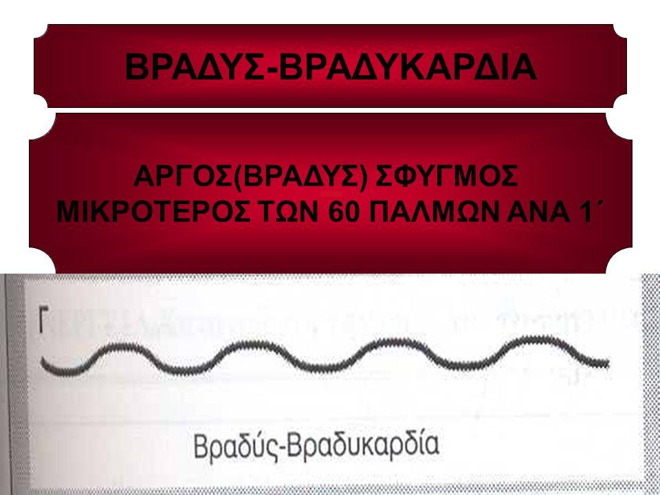 ΒΡΑΔΥΣ-ΒΡΑΔΥΚΑΡΔΙΑ ΑΡΓΟΣ(ΒΡΑΔΥΣ) ΣΦΥΓΜΟΣ ΜΙΚΡΟΤΕΡΟΣ ΤΩΝ 60 ΠΑΛΜΩΝ ΑΝΑ 1΄