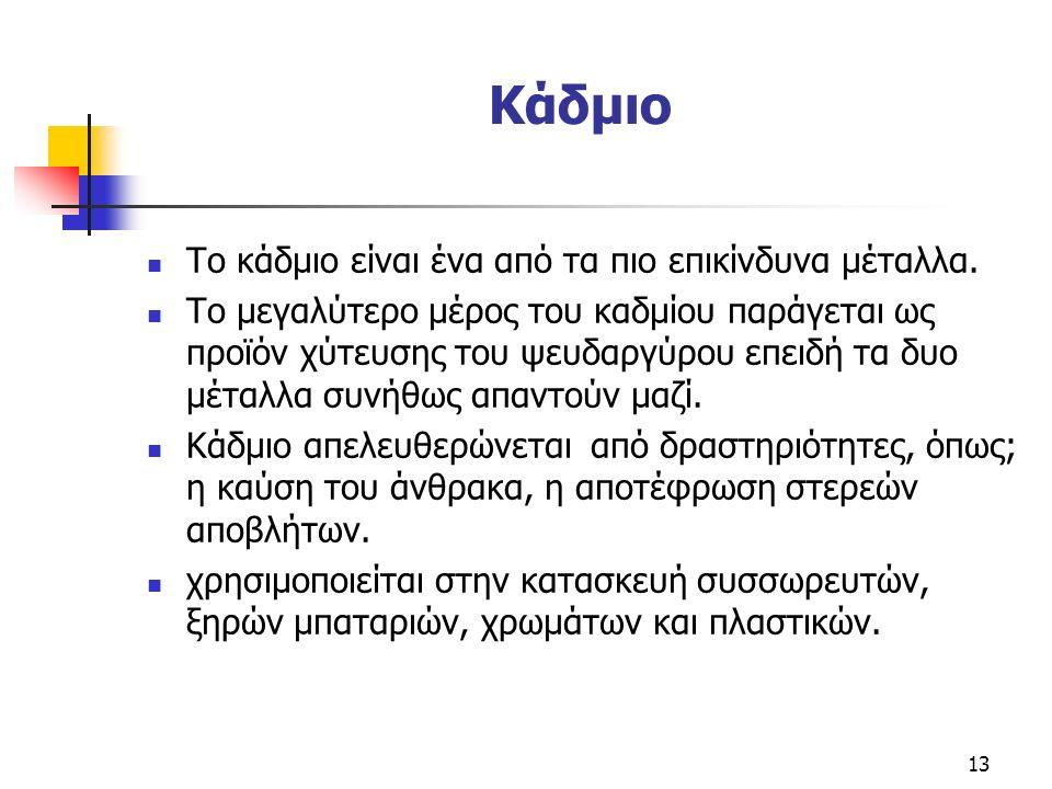 Κάδμιο Το κάδμιο είναι ένα από τα πιο επικίνδυνα μέταλλα.