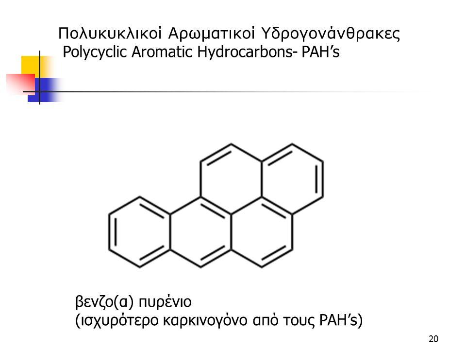 20 βενζο(α) πυρένιο (ισχυρότερο καρκινογόνο από τους PAH's) Πολυκυκλικοί Αρωματικοί Υδρογονάνθρακες Polycyclic Aromatic Hydrocarbons- PAH's