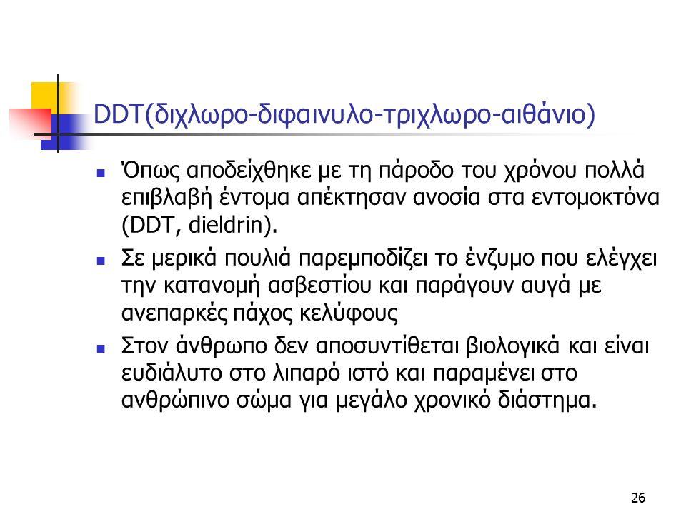 DDT(διχλωρο-διφαινυλο-τριχλωρο-αιθάνιο) Όπως αποδείχθηκε με τη πάροδο του χρόνου πολλά επιβλαβή έντομα απέκτησαν ανοσία στα εντομοκτόνα (DDΤ, dieldrin).