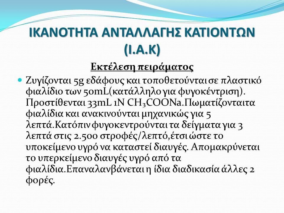 ΙΚΑΝΟΤΗΤΑ ΑΝΤΑΛΛΑΓΗΣ ΚΑΤΙΟΝΤΩΝ (Ι.Α.Κ) Εκτέλεση πειράματος Ζυγίζονται 5g εδάφους και τοποθετούνται σε πλαστικό φιαλίδιο των 50mL(κατάλληλο για φυγοκέντριση).