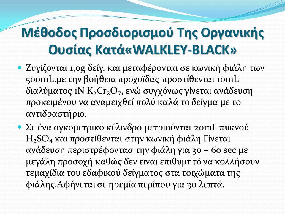 Μέθοδος Προσδιορισμού Της Οργανικής Ουσίας Κατά«WALKLEY-BLACK» Ζυγίζονται 1,0g δείγ.