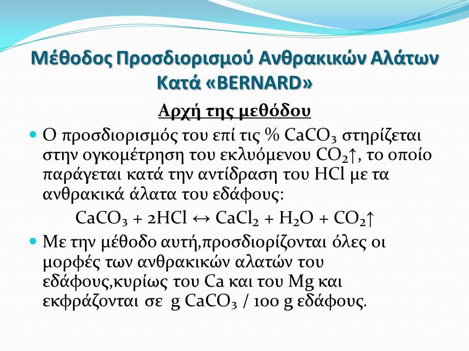 Μέθοδος Προσδιορισμού Ανθρακικών Αλάτων Κατά «BERNARD» Αρχή της μεθόδου Ο προσδιορισμός του επί τις % CaCO₃ στηρίζεται στην ογκομέτρηση του εκλυόμενου CO₂ ↑, το οποίο παράγεται κατά την αντίδραση του HCl με τα ανθρακικά άλατα του εδάφους: CaCO₃ + 2HCl ↔ CaCl₂ + H₂O + CO₂ ↑ Με την μέθοδο αυτή,προσδιορίζονται όλες οι μορφές των ανθρακικών αλατών του εδάφους,κυρίως του Ca και του Mg και εκφράζονται σε g CaCO₃ / 100 g εδάφους.