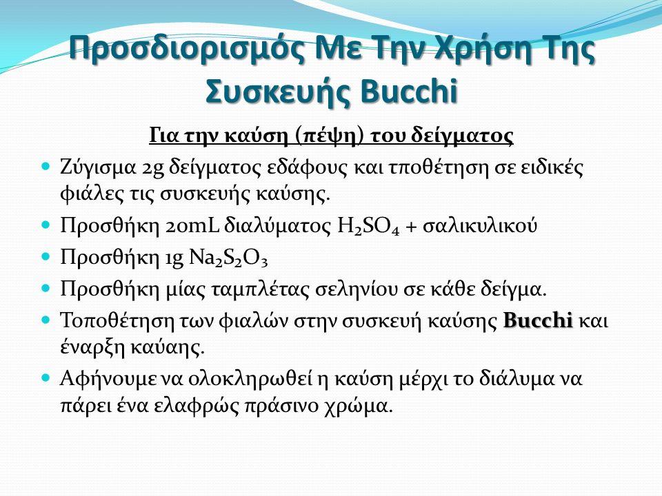 Προσδιορισμός Με Την Χρήση Της Συσκευής Bucchi Για την καύση (πέψη) του δείγματος Ζύγισμα 2g δείγματος εδάφους και τποθέτηση σε ειδικές φιάλες τις συσκευής καύσης.