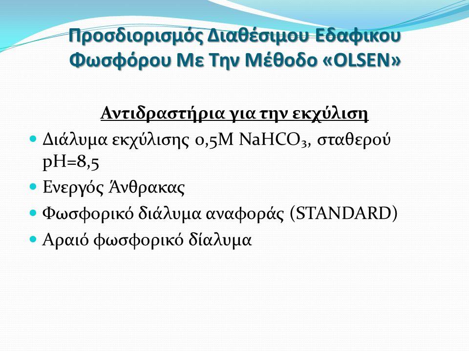 Προσδιορισμός Διαθέσιμου Εδαφικου Φωσφόρου Με Την Μέθοδο «OLSEN» Αντιδραστήρια για την εκχύλιση Διάλυμα εκχύλισης 0,5Μ NaHCO₃, σταθερού pH=8,5 Ενεργός Άνθρακας Φωσφορικό διάλυμα αναφοράς (STANDARD) Αραιό φωσφορικό δίαλυμα