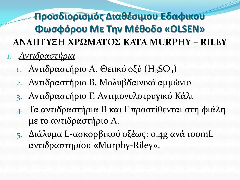 Προσδιορισμός Διαθέσιμου Εδαφικου Φωσφόρου Με Την Μέθοδο «OLSEN» ΑΝΑΠΤΥΞΗ ΧΡΩΜΑΤΟΣ ΚΑΤΑ MURPHY – RILEY 1.