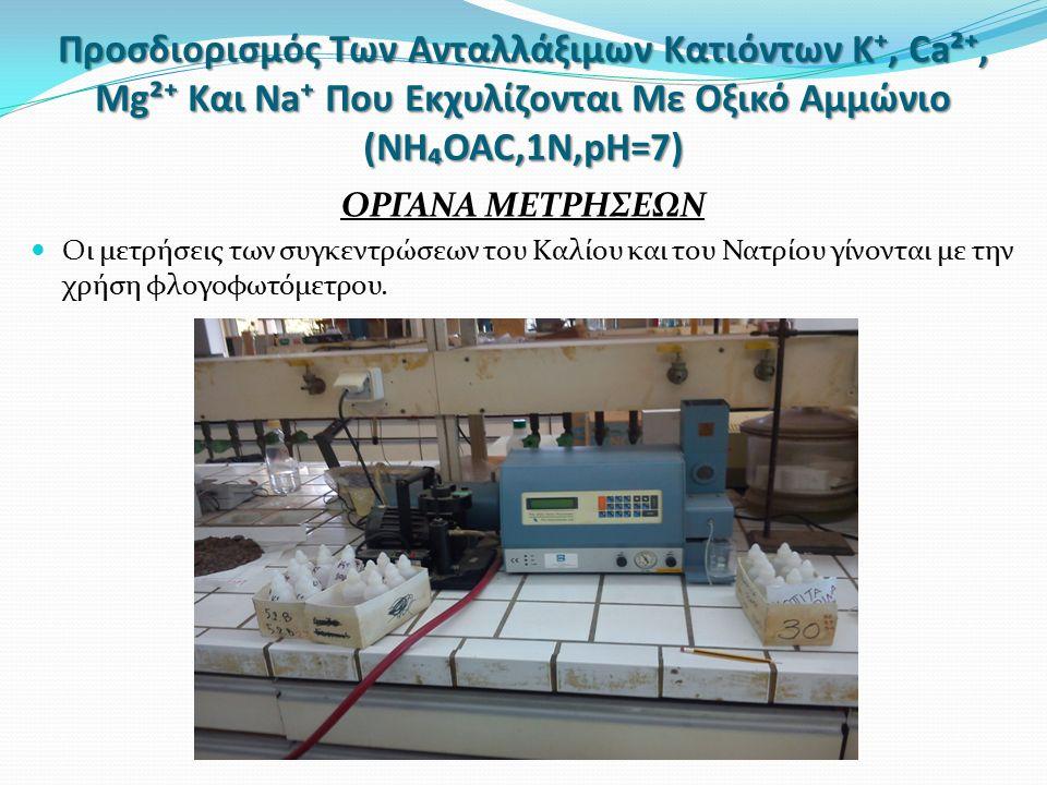 Προσδιορισμός Των Ανταλλάξιμων Κατιόντων Κ⁺, Ca²⁺, Mg²⁺ Και Na⁺ Που Εκχυλίζονται Με Οξικό Αμμώνιο (NH₄OAC,1N,pH=7) ΟΡΓΑΝΑ ΜΕΤΡΗΣΕΩΝ Οι μετρήσεις των συγκεντρώσεων του Καλίου και του Νατρίου γίνονται με την χρήση φλογοφωτόμετρου.