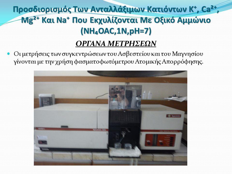 Προσδιορισμός Των Ανταλλάξιμων Κατιόντων Κ⁺, Ca²⁺, Mg²⁺ Και Na⁺ Που Εκχυλίζονται Με Οξικό Αμμώνιο (NH₄OAC,1N,pH=7) ΟΡΓΑΝΑ ΜΕΤΡΗΣΕΩΝ Οι μετρήσεις των συγκεντρώσεων του Ασβεστείου και του Μαγνησίου γίνονται με την χρήση φασματοφωτόμετρου Ατομικής Απορρόφησης.
