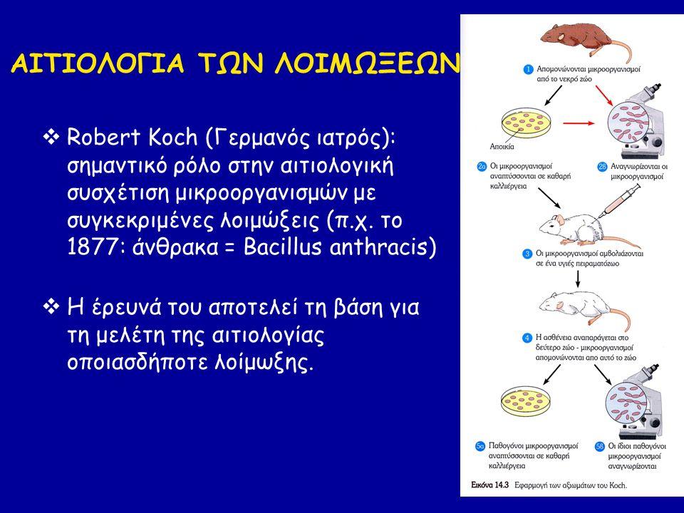 ΑΙΤΙΟΛΟΓΙΑ ΤΩΝ ΛΟΙΜΩΞΕΩΝ  Robert Koch (Γερμανός ιατρός): σημαντικό ρόλο στην αιτιολογική συσχέτιση μικροοργανισμών με συγκεκριμένες λοιμώξεις (π.χ. τ