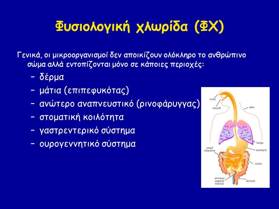 Φυσιολογική χλωρίδα (ΦΧ) Γενικά, οι μικροοργανισμοί δεν αποικίζουν ολόκληρο το ανθρώπινο σώμα αλλά εντοπίζονται μόνο σε κάποιες περιοχές: –δέρμα –μάτια (επιπεφυκότας) –ανώτερο αναπνευστικό (ρινοφάρυγγας) –στοματική κοιλότητα –γαστρεντερικό σύστημα –ουρογεννητικό σύστημα