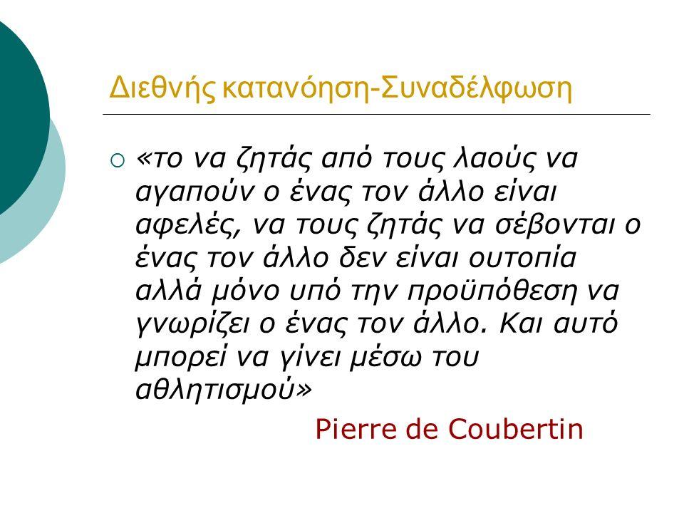 ΑΤΟΜΙΚΗ ΑΞΙΑ Αριστεία, αγώνας για συνεχή βελτίωση  Αιέν αριστεύειν και υπείροχον έμμεναι άλλων  Citius, altius, fortius Pierre Didon  Αγώνας για συνεχή βελτίωση και τελειοποίηση  Το μήνυμα του ολυμπισμού προς κάθε άτομο είναι να αναζητήσει την υπεροχή και να υπερβεί τις ικανότητές του Pierre de Coubertin  Η πιο τρανή νίκη είναι η νίκη του εαυτού μας Πλάτων