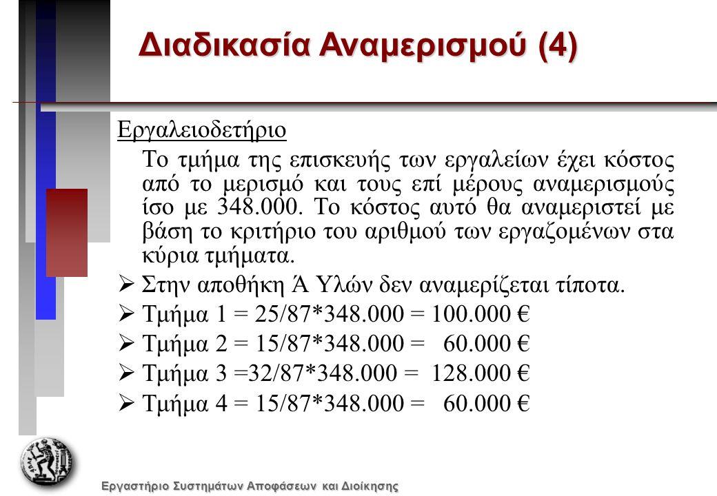 Εργαστήριο Συστημάτων Αποφάσεων και Διοίκησης Διαδικασία Αναμερισμού (4) Εργαλειοδετήριο Το τμήμα της επισκευής των εργαλείων έχει κόστος από το μερισμό και τους επί μέρους αναμερισμούς ίσο με 348.000.