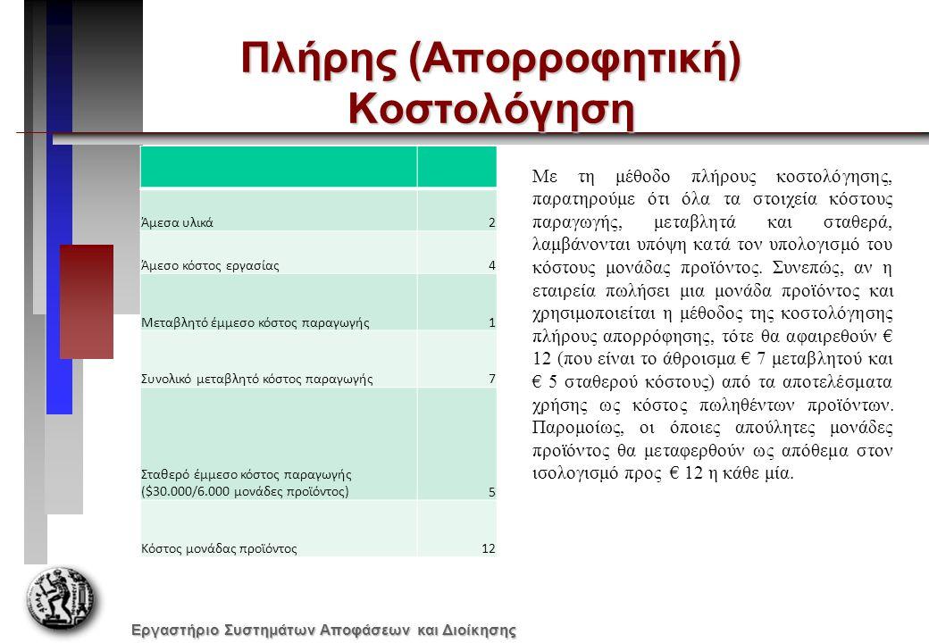 Εργαστήριο Συστημάτων Αποφάσεων και Διοίκησης Πλήρης (Απορροφητική) Κοστολόγηση Άμεσα υλικά2 Άμεσο κόστος εργασίας4 Μεταβλητό έμμεσο κόστος παραγωγής1 Συνολικό μεταβλητό κόστος παραγωγής7 Σταθερό έμμεσο κόστος παραγωγής ($30.000/6.000 μονάδες προϊόντος)5 Κόστος μονάδας προϊόντος12 Με τη μέθοδο πλήρους κοστολόγησης, παρατηρούμε ότι όλα τα στοιχεία κόστους παραγωγής, μεταβλητά και σταθερά, λαμβάνονται υπόψη κατά τον υπολογισμό του κόστους μονάδας προϊόντος.