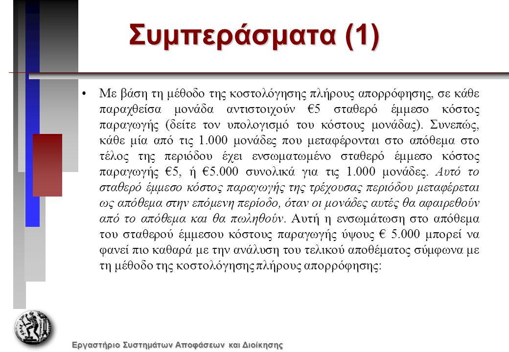 Εργαστήριο Συστημάτων Αποφάσεων και Διοίκησης Συμπεράσματα (1) Με βάση τη μέθοδο της κοστολόγησης πλήρους απορρόφησης, σε κάθε παραχθείσα μονάδα αντιστοιχούν €5 σταθερό έμμεσο κόστος παραγωγής (δείτε τον υπολογισμό του κόστους μονάδας).